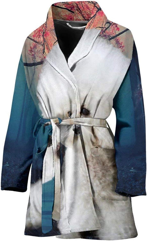 Bichon Frise Print Women's Bath Robe