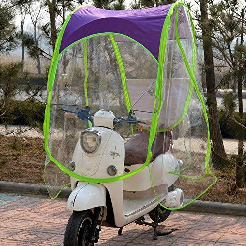 SHDT Motorrad Canopy Motorrad Dach Motor Fahrrad-Sonnenblende Schatten Zelt-Regenschirm-Windschutzscheibe, Komplett Geschlossene Motorroller Regenschirm Mobilität Sonnenschutz Regen-Abdeckung,Lila