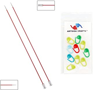 Knitter's Pride Knitting Needles Zing Single Pointed 10 inch Size US 0 (2mm) Bundle with 10 Artsiga Crafts Stitch Markers 140241