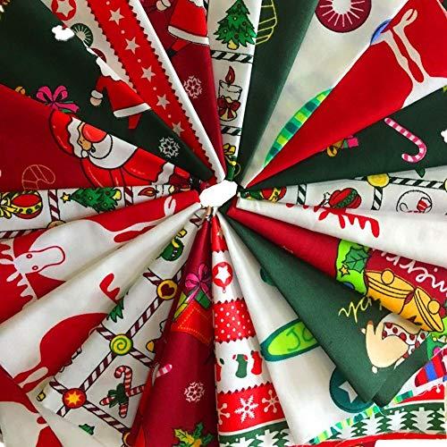 MSCFTFB 10 Pieces Christmas Cotton Fabric Bundles Sewing Square Patchwork Precut Fabric Scraps for DIY Christmas Stocking Tree Wreath Doll Dress Apron Quilt Coaster