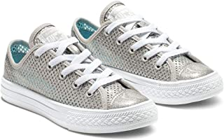 40a3a4bc691e Converse Chuck Taylor All Star Pacific Lights Ox Silver Synthetic Youth  Trainers Shoes