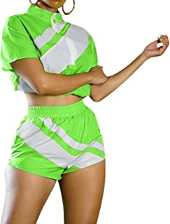 Women 2 Piece Outfits Tracksuit Jumpsuits Lightweight Anti UV Pullover Jacket Crop Top Pants Shorts Set