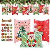 JOYUE 24 Calendario de Adviento, Cajas de Regalo Navidad, Bolsa para Calendario de Adviento, Cajas de Almohadas Papel Kraft con 24 Pegatinas para Navidad, DIY Calendarios Adviento (Color)