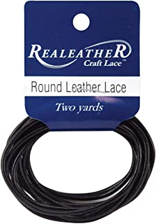 Silver Creek Round Leather Lace 2mm Carded 2 Yards-Black