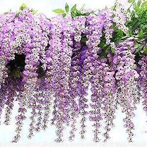 12pcs Artificial Fake Wisteria Vine Garland-GreenDec 3.6Ft/Piece Silk Wisteria Vine Ratta Hanging Flower for Home Garden Wedding Decor,(White) (Purple)