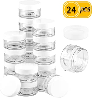 UPlama 24 Pack Cosmetic Containers, Plastic Sample Containers with Lids with Inner Liners Leakproof Wide-Mouth Travel Containers Jars Pots for Toiletry Makeup Cream Liquid Slime (1oz, White)