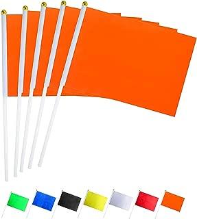 GentleGirl.USA 50 Pack Orange Flag, Pure Solid Orange Small Mini Banner Banner Flags Stick, Party Color Decoration Parade Supplies, School, Sports Club, International Festival Celebration