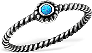 Lab Created Opal Blue Midi Knuckle Ring Sterling Silver 925 Summer Boho US Size 3.5