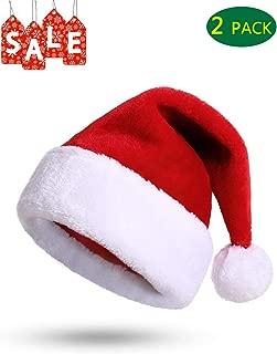 Santa Hats Bulk/Christmas Hat for Adults and Kids Party Hats Christmas Xmas Hats - Santa Hat- Holiday Hats (2 Pack Red Santa Hats)