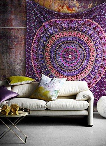 Popular Handicrafts Indische Tagesdecke, Hippie-Mandala, Bohemian-Stil, psychedelisch, filigranes Blumenmuster, 215 x 140 cm, Kastanienbraun