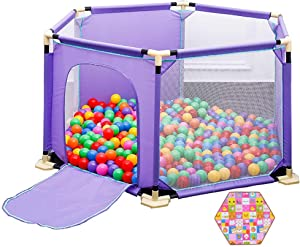 LXDDP Playpen Hexagonal Toddlers Playpen with Mattress and Ball  Safety Anti-collision Baby with Door  Purple Kids Room Divider