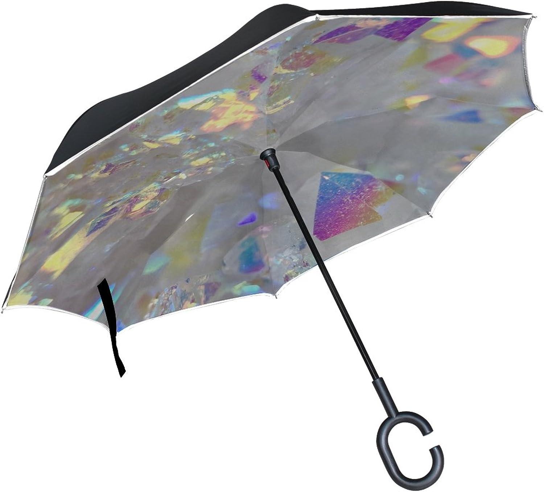 Double Layer Ingreened Angel Aura Opal Aura Aura Quartz Cluster Druzy Umbrellas Reverse Folding Umbrella Windproof Uv Predection Big Straight Umbrella for Car Rain Outdoor with CShaped Handle