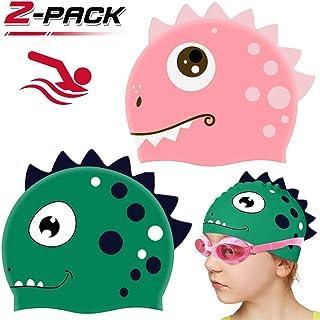 WENTS Gorros de natación para niños 2 PCS Silicona no tóxica Antideslizante Impermeable Gorro de baño Dinosaurio para el Cuidado del Cabello para niños y Adolescentes