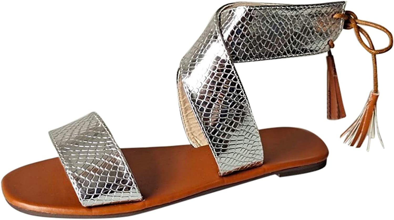 Padaleks Women's Flat Sandals Summer Beach Open Lace-Up Max 58% OFF Tassel T Free Shipping New