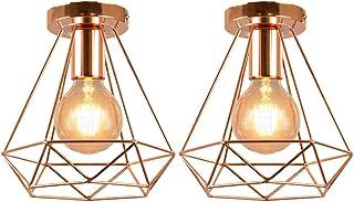 IDEGU - Lote de 2 lámparas de techo vintage de 200 mm de diámetro, metal, jaula colgante industrial con forma de diamante, E27, lámpara de techo para dormitorio, comedor, cocina, oro rosa