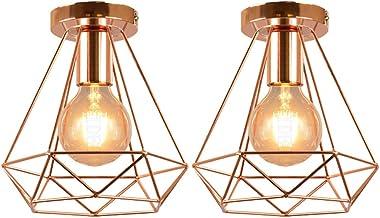 Lot de 2 Plafonniers Vintage, iDEGU Ø200mm Métal Cage Lustre Industriel Suspension Luminaire Forme Diamant Rétro E27 Lampe de