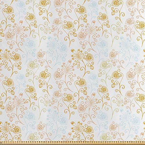ABAKUHAUS Bloemen Stof per strekkende meter, Pauwenveer laat, Decoratieve Satijn Stof voor Huishoudtextiel en kunstnijverheid, 2 m, Veelkleurig