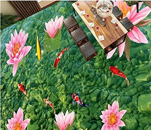 3d flooring Custom wallpaper natural Stone lotus floor vinyl adhesive wallpaper scenery for walls 3d floor painting-400x280cm