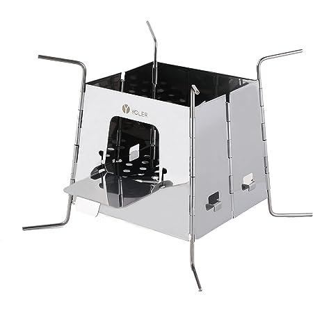 ヨーラー(YOLER) 薪ストーブ 焚き火台 ステンレス製 固形燃料ストーブ 折りたたみ式 専用収納バッグ付き YR-PT-W06