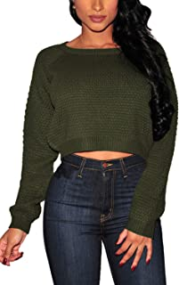 Pink Wind Women's Long Sleeve Texture Knitted Crop Tops Sweater