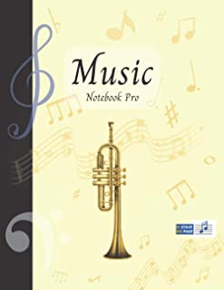 Music Notebook Pro With Instrument - Trumpet | Advanced 10 Staves Interior With Educational Materials: Music Manuscript Pa...