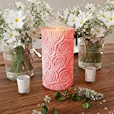Lavish Home LED Candle with Remote Control-Rose Design Scented Wax Realistic Flickering or Steady Flameless Pillar Light-Ambient Home Décor
