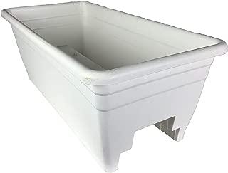 The HC Companies SPX24DB0A10 Akro White Deck Rail Box Planter , 24