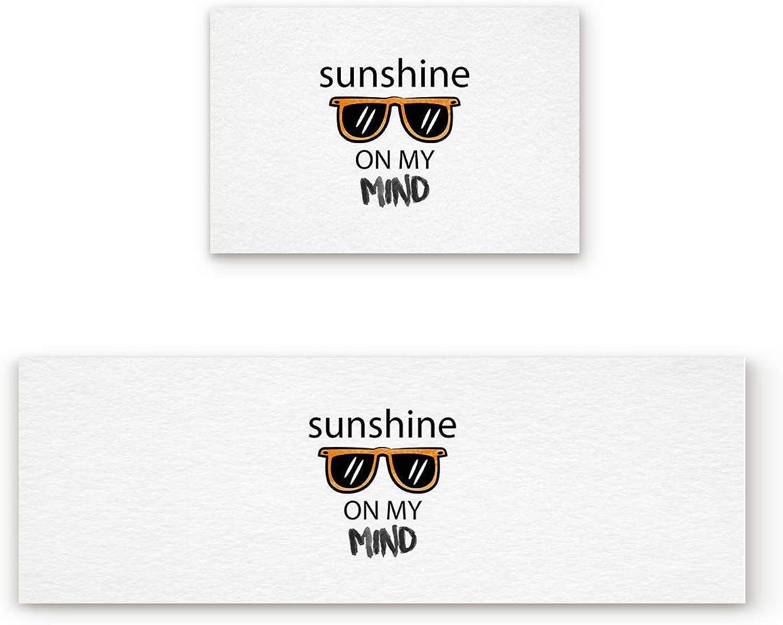 KAROLA 2 Piece Non-Slip Kitchen Mat Doormat Runner Rug Set Thin Low Pile Indoor Area Rugs Sunshine on My Mind Cool Sunglass 19.7 x31.5 +19.7 x47.2