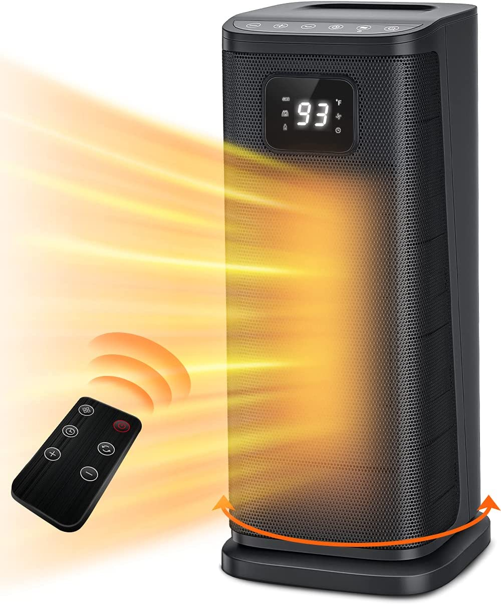 FHstars Space Heater for Indoor Use, 1s Fast Heating Electric Oscillating Portable Heaters with Thermostat, 1500W Ceramic PTC Room Heater with 4 Modes, 24H Timer, LED Display, Safe for Office Use…