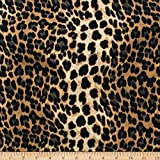 Telio Moda Polyester Crepe Print Animal Leopard Black Gold Fabric by the Yard