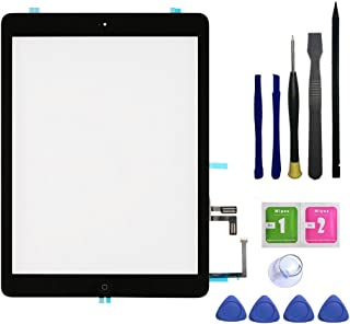 FeiyueTech IPad Air 1st Generation (IPad 5) Touch Screen Digitizer Replacement ,Front Glass Assembly -Includes Home Button + Camera Holder+PreInstalled Adhesive with Tools kit (Black)