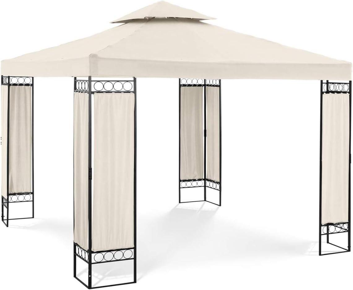 Uniprodo Pérgola De Metal Cenador para Jardín Uni_PERGOLA_3X3BF (Dimensiones: 3 x 3 m, Altura Total: 2,60 m, Densidad de la Lona: 160 g/m2, Beige)