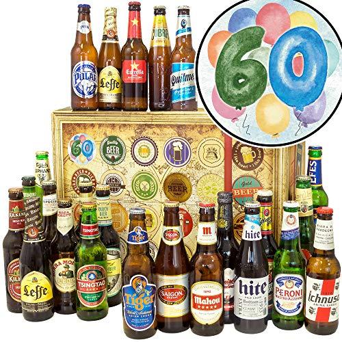 60. Geburtstag - Biere der Welt 24x - 60ster Geburtstag Geschenke - Bier Adventskalender