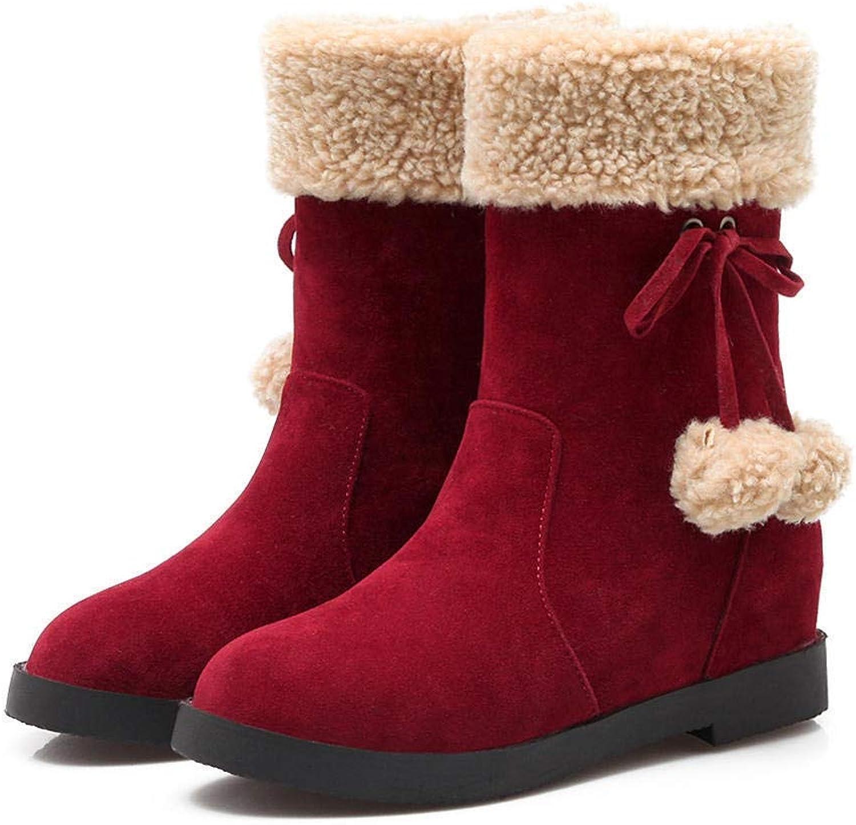 JOYBI Women's Fashion Round Toe Snow Boots Winter Comfortable Slip On Warm Block Low Heel Mid Calf Boot