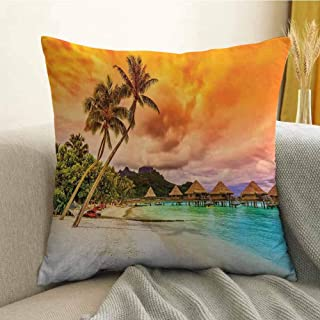 Beach Bedding Soft Pillowcase Mountain Beach and Palm Trees Golden Clouds at Sunset Romantic View Image Hypoallergenic Pillowcase W24 x L24 Inch Orange Turquoise Ivory