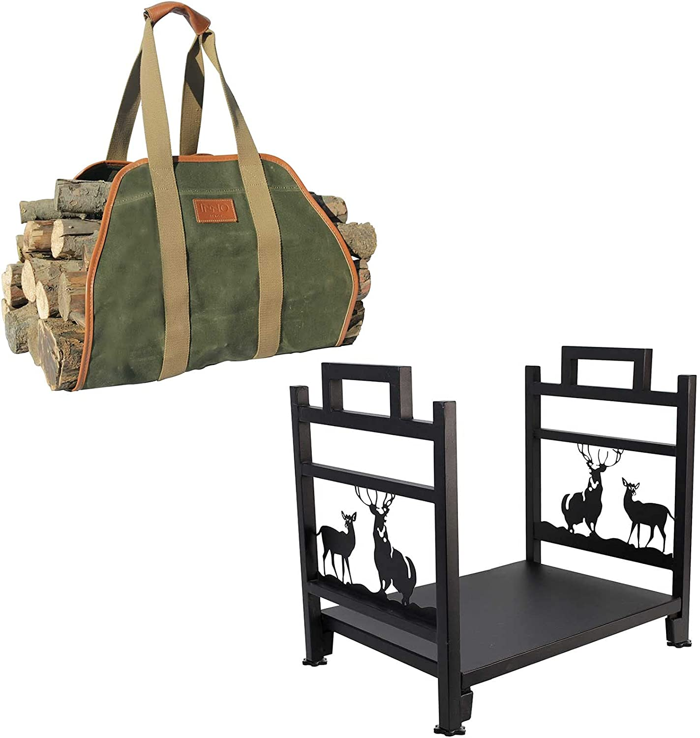 Detroit Mall Waxed Canvas Log Carrier Tote Firewood Rack Manufacturer direct delivery and Bag