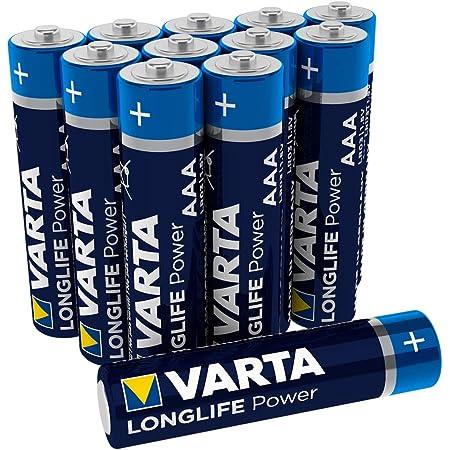 Varta Longlife Power AAA Micro Batteria LR03 (pacco da 12) Batteria alcalina - Made in Germany - Ideali per giocattoli, torce, controller e altri dispositivi a batteria
