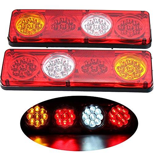 HEHEMM Rücklicht Anhänger 36LED Wasserdicht Auto Rücklicht Rückleuchten Lampe Bremslicht Stop Lichter Kontrollleuchte Nebellichter Rückfahrlicht Äußeres Licht für Anhänger Wohnwagen LKW 2PCS (12V)