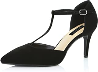 DailyShoes Women's Comfortable Pointed Toe T-Strap High Heel Pumps Shoes