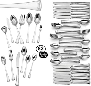 Lenox Brookfield 82 Piece Flatware Set Service For 12 Stainless Steel 18/10 Elegant