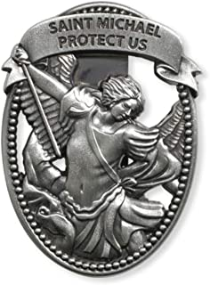 Sacred Traditions Silver Tone Zinc Alloy Archangel St Michael Protect Us Visor Clip, 2 1/4 Inch