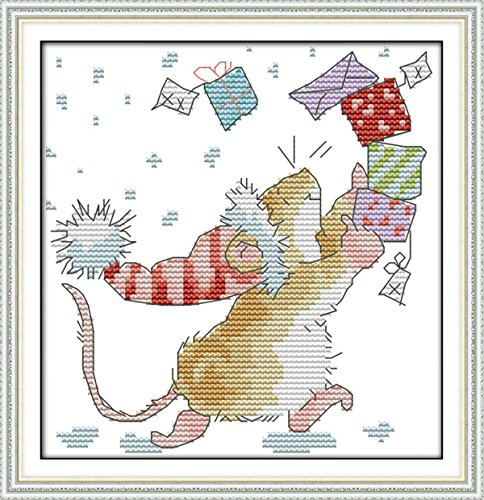 eGoodn Stamped Cross Stitch Kits with Printed Pattern - The Little Mouse Collection of Letters, 9.5 inches by 9.5 inches 11ct Aida Fabric for Embroidery Art Cross-Stitching Lovers