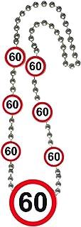 NET TOYS 60. Geburtstag Kette Verkehrsschilder Geburtstagskette mit Medaillon Partykette Party Zubehör Jubiläum Halskette Geburtstagskind Geburtstagsgag Verkehrsschild Zahlenkette