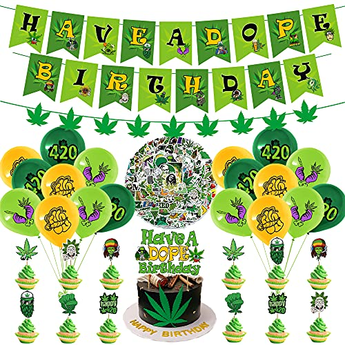 133 Pcs Weed Birthday Party Decorations, Pot Weed Leaves Birthday Party Garland Set Party Supplies with Have a Dope 420 Happy Birthday Banner, Cake Topper, Stickers, Cupcake Toppers, Balloons