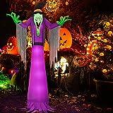 Kalolary 2,7m Fantasma Inflable de Halloween, Bruja Gigante Aterradora con Luz LED Halloween Decoración Interior al Aire Libre Jardín Patio Fiesta de Terror