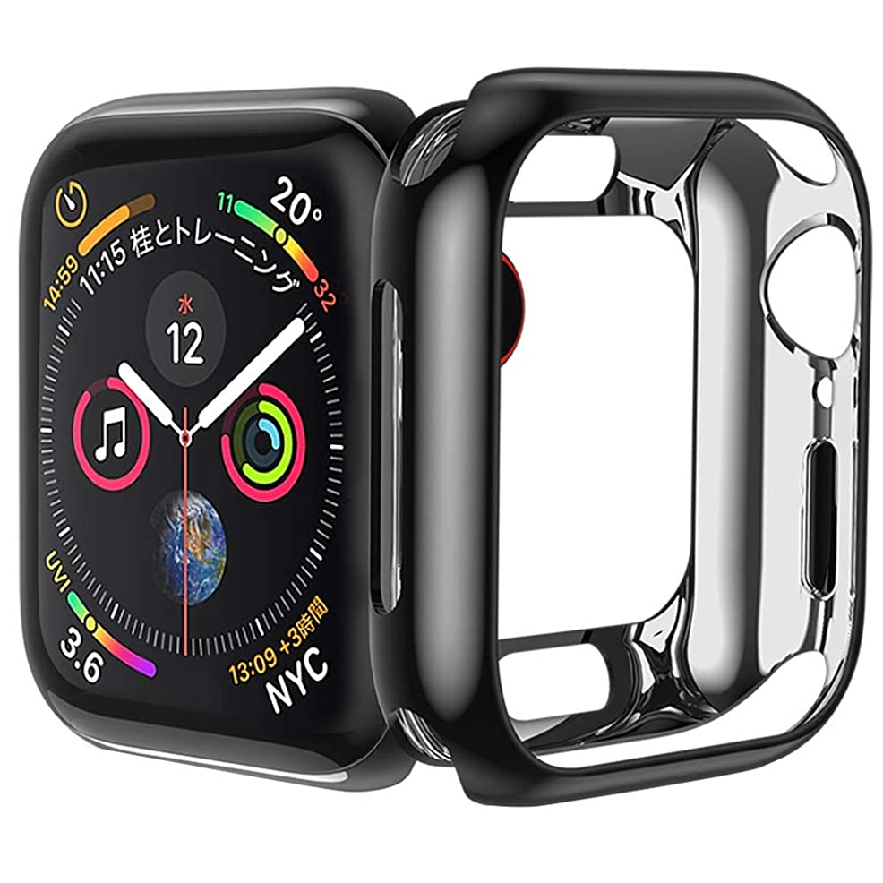 メンバーキャラクター目指すApple Watch ケース カバー 対応 Apple Watch Series 2/3 42MM TPU 柔らかい保護ケース 通用形 カバー 柔軟 耐衝撃性 超簿 脱着簡単 傷付き保護プロテクターバンパーApple iWatch アップルウォッチ シリーズ メッキ Series 2 3 (42MM, 黒)