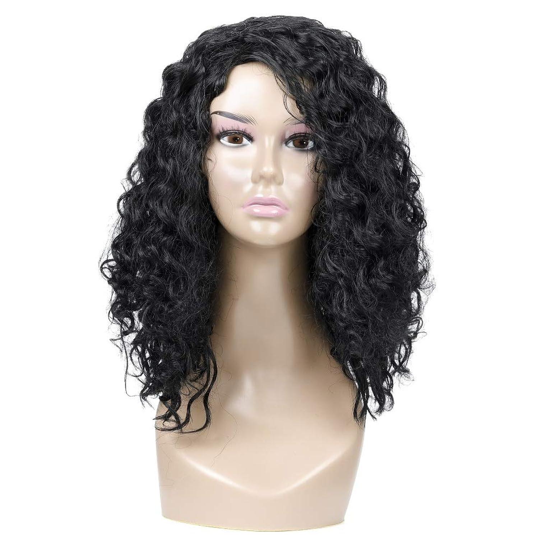変更可能キノコスタウト女性の黒の短い巻き毛のかつら、小さいカールのかつら、自然な人間の毛髪のかつら、耐熱性人工毛交換かつら、ハロウィーンコスプレパーティーコスチュームかつら