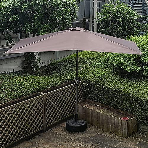 ELLENS Paraguas de Medio Patio de 250 cm × 120 cm, Estilo de Mercado para Mesa al Aire Libre, jardín, terraza, balcón, Patio, UPF50 + (incluida la Base)