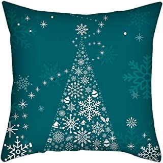 Shan-S Happy Winter Forest Style Christmas Merry Christmas Throw Pillow Case Christmas Trees Falling Snowflake Decorative Square Pillow Case Cushion Cover Pillowcase for Sofa 18X18 Inch