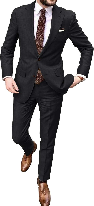 YZHEN Men's 2 Pieces Khaki Suits Wedding Suits for Men Groom Tuxedos